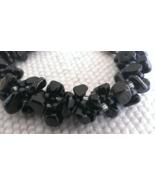 """Handmade Designer Bracelet Tumbled Onyx nugget beads Kumihimo 6 1/2"""" - $34.72"""