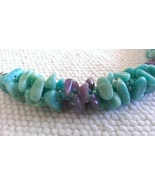 Handmade Designer Necklace and Earrings Amazonite and Amethyst Nuggets K... - $54.97