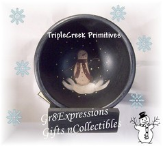 PRiMiTiVe Small HP Wooden Snowman Bowl w/Hanging Shelf - $15.95