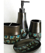 Crackle Mosaic Bath Accessory Collection Set Bed Bathroom Accessories Ho... - $59.99