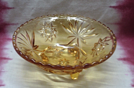 Vintage Anchor Hocking FireKing EAPG Star Of David Amber Three Footed Candy Dish - $13.00