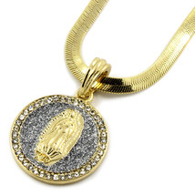 "Mens Gold Plated Silver Tiny Stardust Virgin Pendant HipHop 24""Herringbo... - $14.84"
