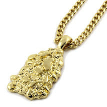 "Mens 14K Gold Plated Nugget Pendant Hip-Hop 30"" Cuban Chain - $14.84"
