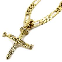 "Mens 14K Gold Plated Tiny CZ Nail Cross Pendant Hip-Hop 24"" Figaro Chain - €12,55 EUR"
