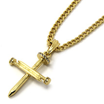 "Mens 14K Gold Plated Tiny Nail Cross Pendant Hip-Hop 30"" Cuban Chain - $14.84"