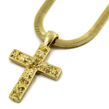 "Mens 14K Gold Plated Tiny Nugget Cross Pendant Hip-Hop 24"" Herringbone C... - $14.84"
