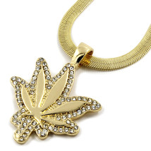 "Mens 14K Gold Plated Small CZ Marijuana Leaf Pendant HipHop 24""Herringbo... - $14.84"