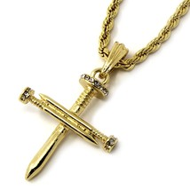 "Mens 14K Gold Plated Tiny Nail Cross Pendant Hip-Hop 24"" Rope Chain - $14.84"