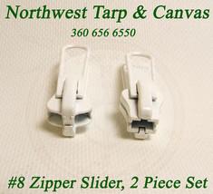 Zipper Slider, YKK Vislon, Double Metal Pull Tab, #8, White, 2 Pc. image 2