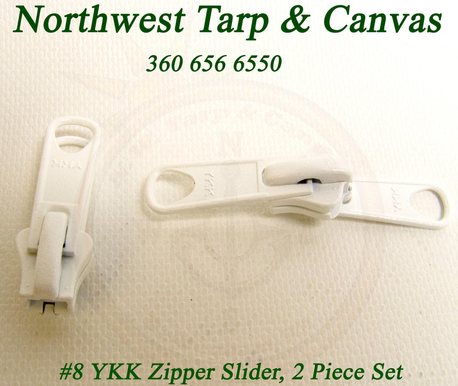 Zipper Slider, YKK Vislon, Double Metal Pull Tab, #8, White, 2 Pc. image 3