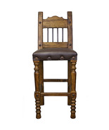"""26"""" Torno Bar Stool With Leather And Iron Real Wood Rustic Cabin Lodge - $375.21"""