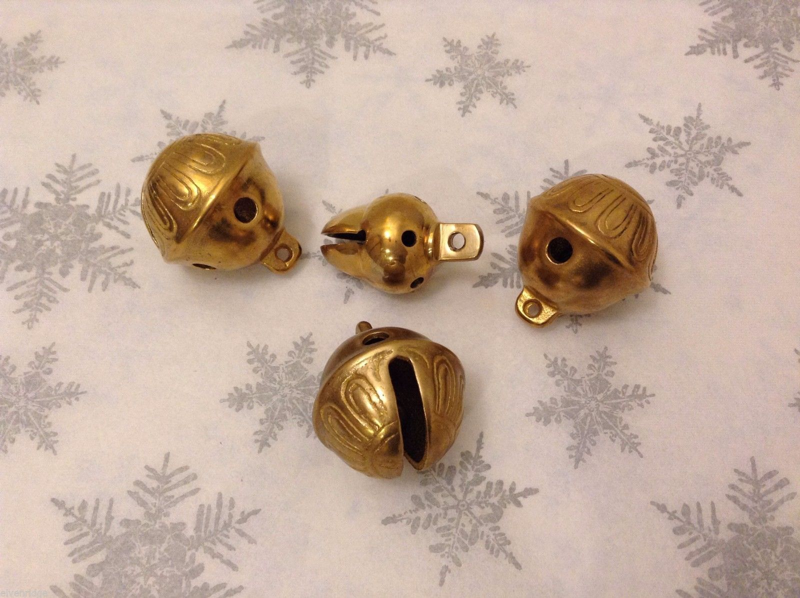 Polar Gold Brass Lot of 4 Santa Sleigh bells GREAT Christmas Morning surprise