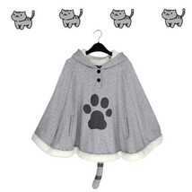Japanese Game Neko Atsume Cute Cat Cloak Lolita Girl Hoodies Coat Warm C... - $18.70