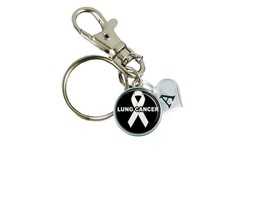Custom Lung Cancer Awareness White Ribbon Silver Key Chain Initial Family Charms - $10.22