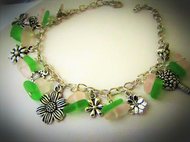 Pink Green Sea Glass Floral Charm Bracelet Usa Handmade - $14.99
