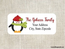Christmas Holiday Penguin  Return Address Labels Personalized Custom - $4.95
