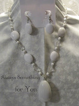 White Necklace & Earring Set with Glass & Lucite Beads Chunky Statement - $10.99