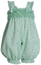 Baby Girls 3M-24M Mint-Green White Dots and Ruffles Sparkle Chiffon Romper (1...