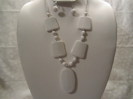 White Necklace & Earring Set with Silver & Lucite Beads Chunky Statement - $10.99
