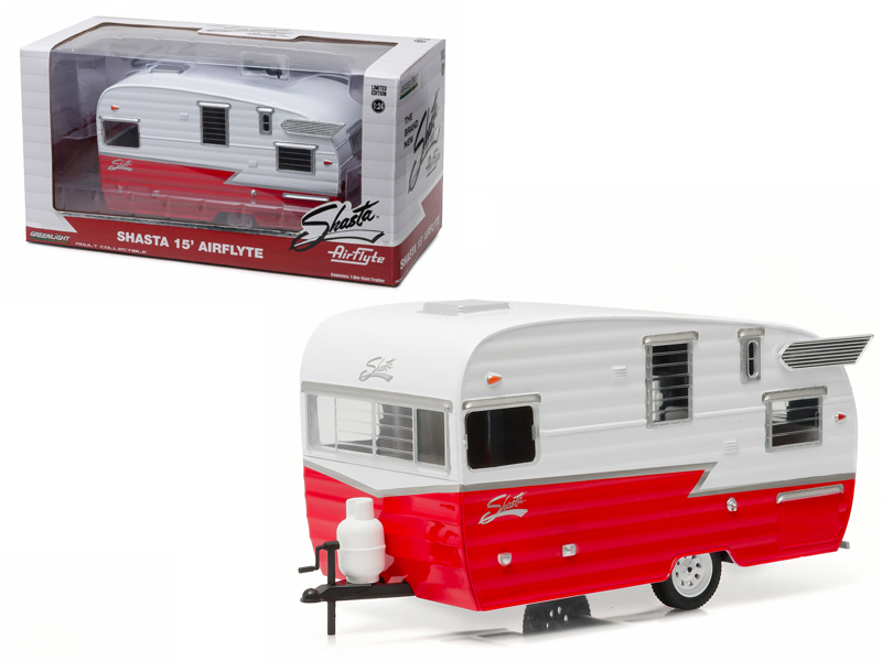Shasta Airflyte 15\' Camper Trailer Red for 1/24 Scale Model Cars and Trucks 1/2