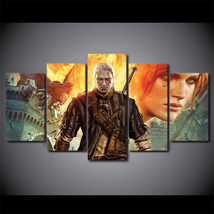 5 Pcs  Witcher Assassins Game Home Decor Wall Picture Printed Canvas Pai... - $45.99+