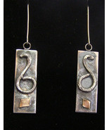 Sterling Silver Scrap Art Earrings with 14K Gold Accent,    354 - $35.00
