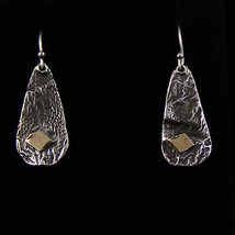 Sterling Silver Earrings with Antique Finish and 14K Gold Accents  195 - $65.00