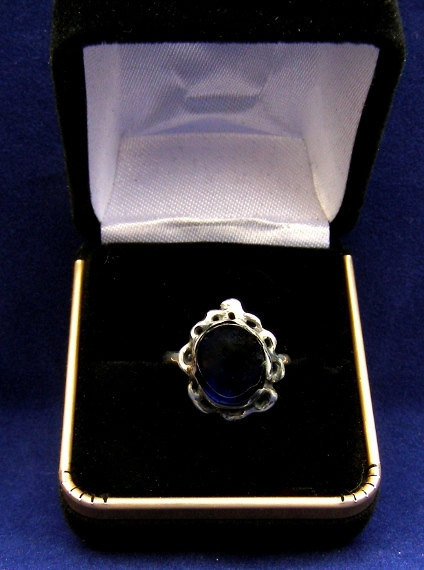 Sterling silver ring 12x10mm lab grown sapphire size 8  336