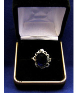 Sterling silver ring 12x10mm lab grown sapphire size 8  336 - $99.99