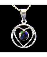 Sterling Silver Heart-Shaped Pendant with Fire Opal Doublet P-134 - $65.00
