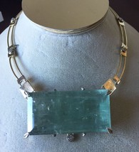 Gigantic Huge 246 ct aquamarine 1.6 ct diamond 14k yellow gold necklace ... - $59,999.99