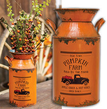 Pumpkin Truck Galvanized Metal Milk Can Floral Country Rustic Fall Autu... - $44.00