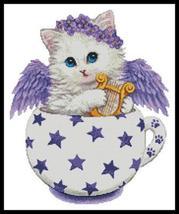 Angel Kitty Cup cross stitch chart Artecy Cross Stitch Chart - $14.40