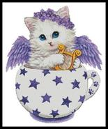 Angel Kitty Cup cross stitch chart Artecy Cross Stitch Chart - $14.40