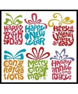 Celebrations Card Set cross stitch chart Artecy Cross Stitch Chart - $7.20
