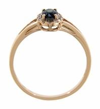 Zaffiro Blu Pietra Zodiacale 14k Oro Rosa 0.77ct Naturale Aureola Diamante - $203.15