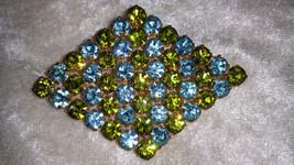 vintage pin brooch sky blue and lime green rhinestone gold tone diamond ... - $43.00