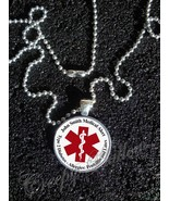 Medical Alert Your Custom Text  Image Pendant NECKLACE - $12.87