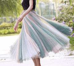 Rainbow Pleated Skirt Womens Rainbow Stripe Skirt Tulle Maxi Skirt Outfit image 12