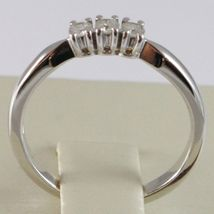 WHITE GOLD RING 750 18K, TRILOGY 3 DIAMONDS CARAT TOTAL 0.12, STEM SQUARE image 4
