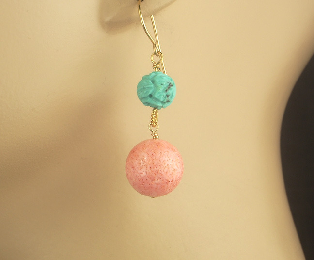 Turquoise Pink Coral Dangle Earrings 14k Gold Fill Wire Wrapped Carved Turquoise