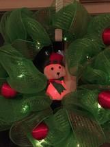 White Puppy Dog Deco Mesh Wreath Green Red Spar... - $49.49