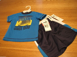 Boys baby 3-6 MO Months shorts t shirt set Puma NEW NWT blue aster active soccer - $19.94