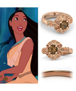 18K Gold Fn .925 Silver Multi-Stone Disney Princess Pocahontas Engagemen... - $149.99