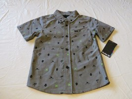 Hurley boy's youth 5 palm skull head button up shirt casual grey O Schif... - $21.59