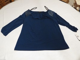 AGB let it shine navy glitter blouse shirt large L 012100444W83 NEW wome... - $23.99