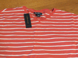 Men's Polo Ralph Lauren T shirt v neck logo soft S NEW 0480942 VNJSY1 shrimp - $23.39