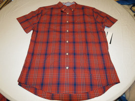 Men's Tommy Hilfiger shirt Plaid S button up 7880736 Ketchup 876 red blue - $39.59