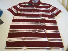 Men's Tommy Hilfiger Polo shirt stripe logo 7869998  Cabernet 627 burgandy S NWT - $34.19