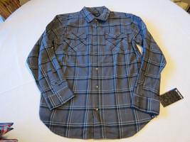 Boy's youth Hurley button up shirt boys NWT L 14464004-07 Ash grey plaid... - $25.79